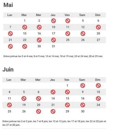Calendrier Greve Sncf 2018 Mai Toussus Net
