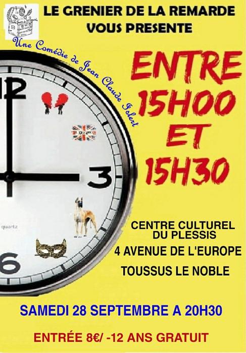 Théâtre : Entre 15h00 et 15h30 - Salle du Plessis Samedi 28 Septembre